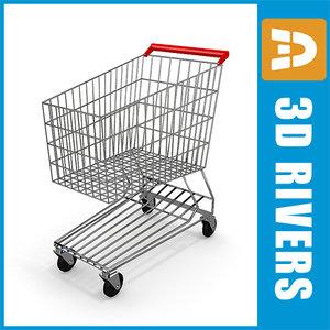 3d model metal shopping cart