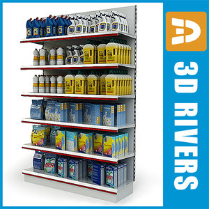 display shelf cleaning supplies 3d model