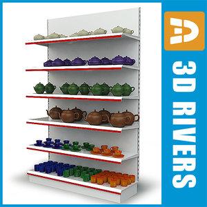 3dsmax shelves tableware display shelf