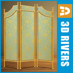 retro folding screen old style 3d 3ds