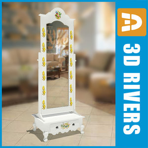 3d big retro mirror model