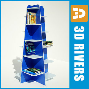 book shelf bookshelf retail 3d model