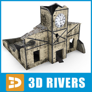 ruined building clock tower 3d model