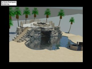 pool cave jacuzzi bar 3d max