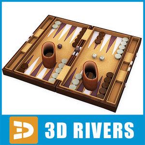 backgammon set board 3d 3ds
