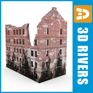 3d dilapidated dwelling ruin