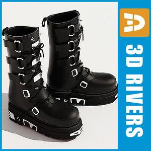 3d model gothic shoes