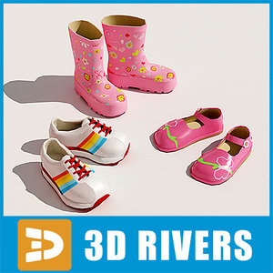 kids shoes set 3d model