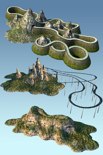 mountain roller coaster 3d model