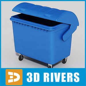 3d model large trash container cans