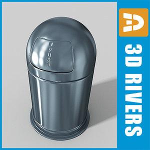 metallic trash cans 3d model