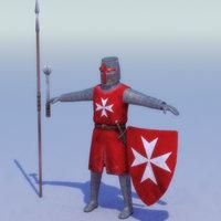 3d model crusader knight hospitaller