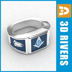 3d model mason silver ring