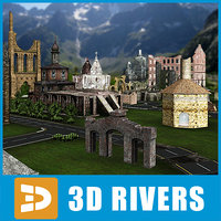3d model ruined town