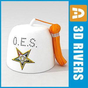 3ds white masonic cap 02