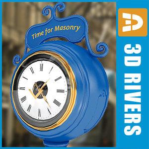 3d seattle masonic clock