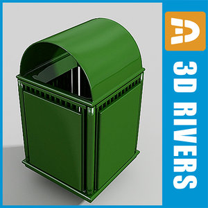 street trash cans container 3d obj