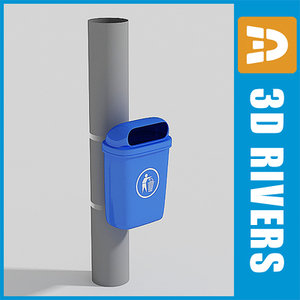 plastic trash cans container 3d model