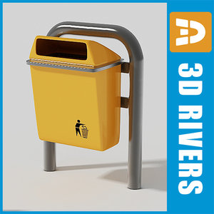 street trash cans 3d 3ds
