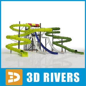 3d water slides 04 model
