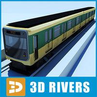 3d model paris metropolitan train subway