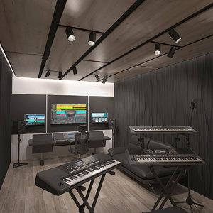 3D model room interior musical studio