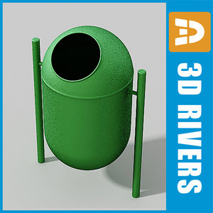 3d 3ds street trash cans