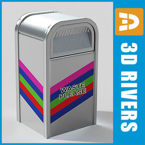 3d metallic trash cans
