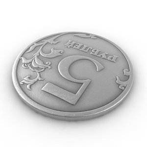 coin russian rouble 5 3d max