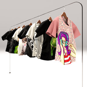 women rack t-shirts 3D model