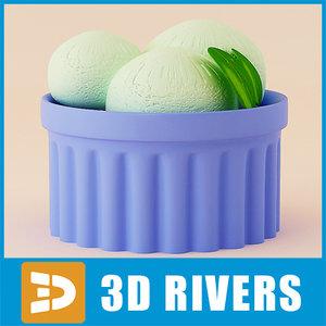 3d model green tea ice cream