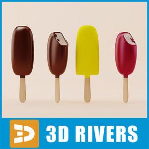 3d ice cream set model