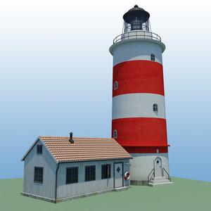 lighthouse house buildings 3d model