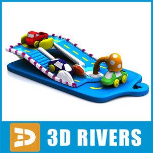 3d model baby toy highway