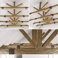 wooden ceiling beams barn 3D model
