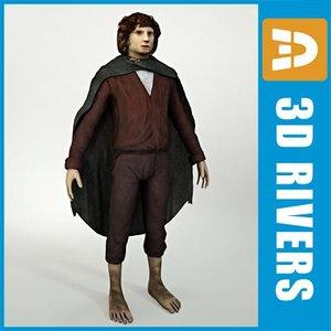 3d model hobbit man fantasy