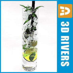 3d model mojito cocktail