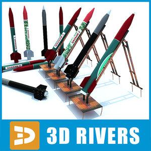 3d model missiles set qassam artillery