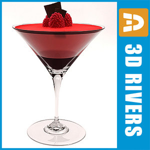 raspberry martini cocktail 3d model
