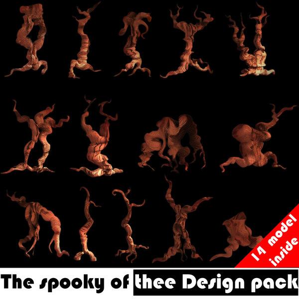 spooky tree design pack 3d model