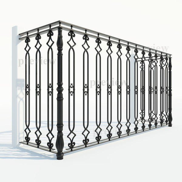 3d model cast iron fence section