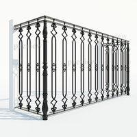 3d model cast iron fence section