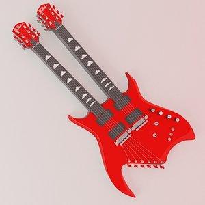 3d double neck guitar