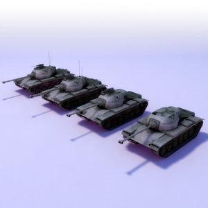 m47 patton tank lods 3d max