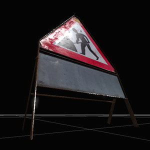 3d men work warning sign model