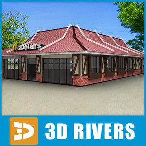 3d 3ds fast food restaurant mcdonald