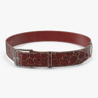 crocodile leather belt red 3D model