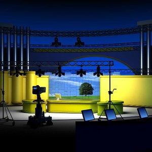 virtual tv studio set 3d 3ds