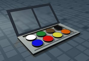 3d watercolor set color model