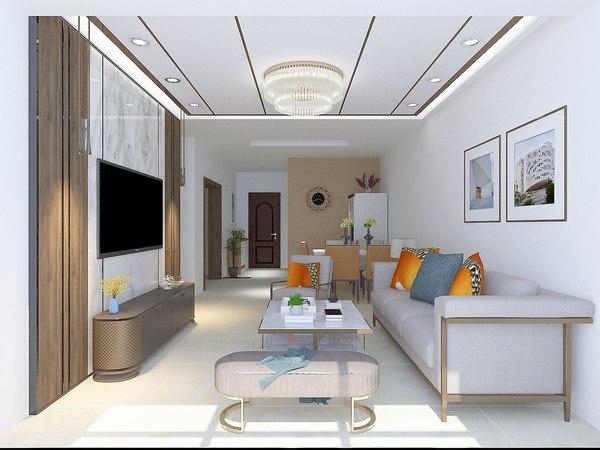 3D interior living room 7500x3500 model